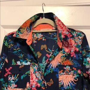 Soft surroundings cotton floral shirt dress.